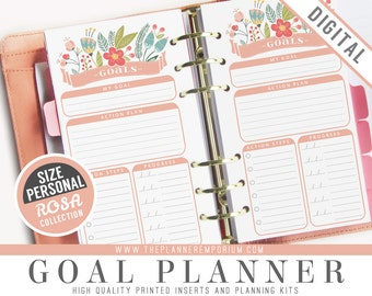 Personal Goal Planner Inserts - ROSA Collection - Fits Kikki K Medium, Filofax Personal Printable - Progress Check Ins - Pink Floral Design