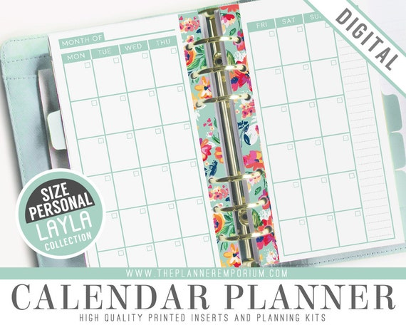 Personal Calendar Planner Inserts - Layla Collection - Fits Kikki