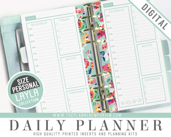 Personal Daily Planner Inserts - LAYLA Collection - Fits ...