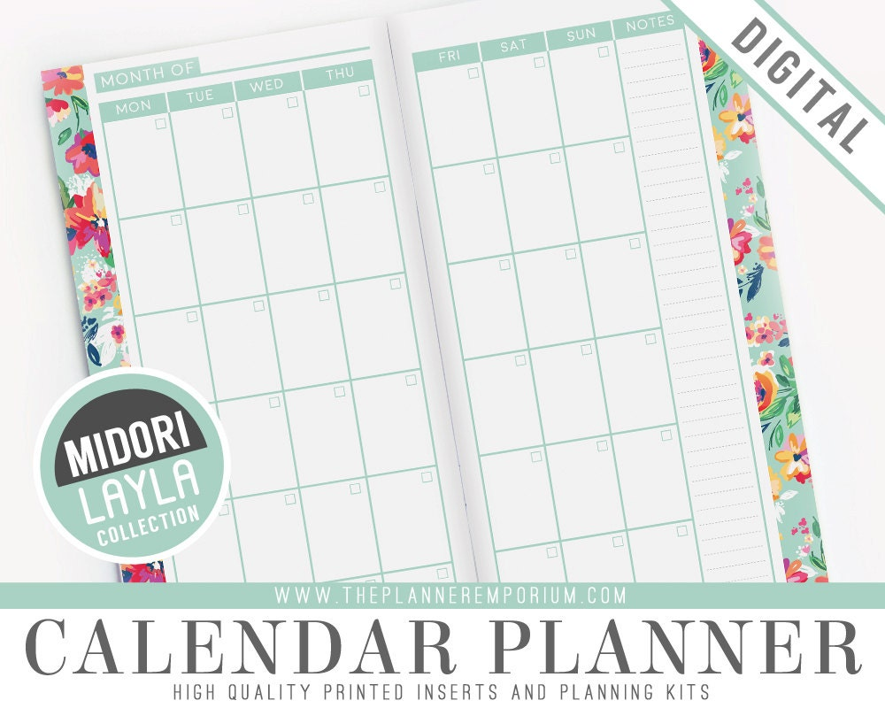 Calendar Planner Uk : Midori calendar planner inserts layla collection