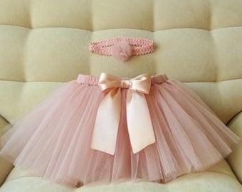 Powder tutu set for baby girl Handmade tutu skirt and crochet headband Wedding and birthday outfit Tulle skirt for girl Summer tutu