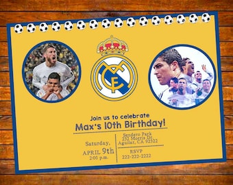 Real Madrid Futbol Soccer Personalized Invitation - Digital Download OR Prints (English or Spanish)