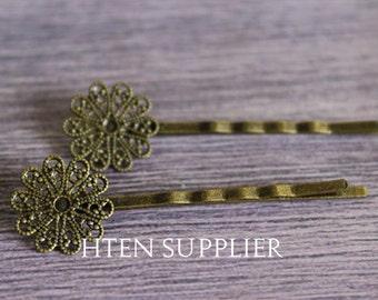 50pcs Retro flower silver antique bronze Bobby Pins