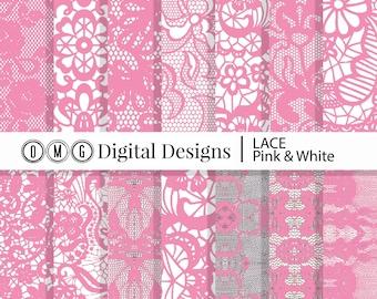 Pink Lace Digital Paper: Pink Lace Printables, Lace Paper, Lace Pink, Digital Pink Lace, Pink Digital Lace Instant Download (Mauvelous)