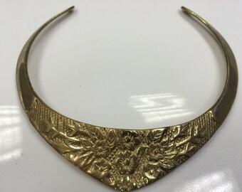 Vintage 1980's Collar Neckplate Necklace BNWT Brass Flower Pattern Top Shop