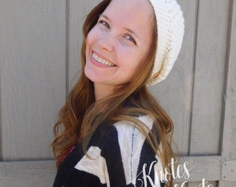 Crochet hat - slouchy hat - ivory slouchy hat - winter accessories - fall fashion