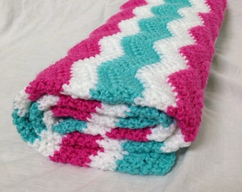 Baby girl blanket - baby crochet blanket, baby blanket, turquoise pink and white blanket, turquoise baby bedding, girl nursery decor