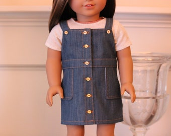 Button Down Denim Overall Dress for American Girl dolls