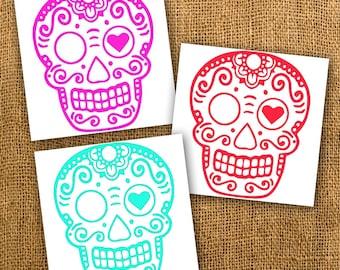 Sugar Skull Vinyl Decal Sticker - Multiple Colors