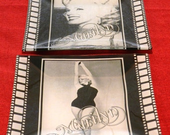 Vintage Pair of Marilyn Monroe Ashtrays or Small Glass Trays           00635