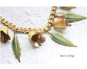 Vintage necklace 1950 jewelry flower bell chime charm necklace rockabilly pin up easter lily gift prom 1950 1940 bridesmaid mad men style
