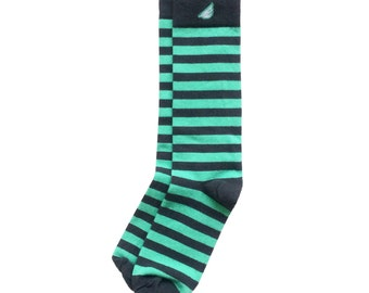 "Dark Grey & Light Green Men's Dress / Casual Stripe Socks - Fun Unique Colorful - ""Jailbird"" Christmas Holiday Gift Stocking Stuffer"