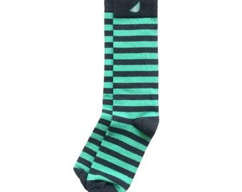 "Dark Grey & Light Green Men's Dress / Casual Stripe Socks - Fun Unique Colorful - ""Jailbird"" Christmas Holiday Gift Stocking Stuffer"