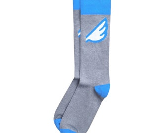 "Unique Light Grey Sky Blue Wing Men's Fun Colorful Dress / Casual Socks - ""Wingman"" Christmas Holiday Stocking Stuffer"