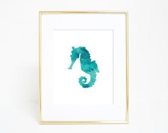 Blue Seahorse Art, Seahorse Poster, Download Beach Decor, Art Printables, Printable Gift Jetty Home Prints Turquoise Print Seahorse Painting