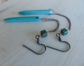 Turquoise Earrings, Turquoise Spike Earrings,Turquoise Howlite Drop Earrings
