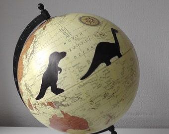 Hand Painted Globe. Dinosaur Globe. Travel Gift.