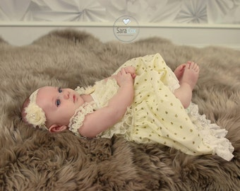 Nora Dress Baby Photo Prop Ivory/Gold Hearts