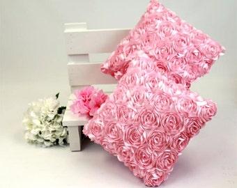 Decorative Pillow Photo Prop Pink Satin Flowers