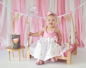 Mommy Miss Lily Dress Photo Prop Pink/Gold Dots