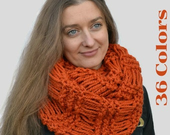 Chunky scarf Knit orange scarf Circle scarf Infinite loop scarf Tube knit scarf Mens scarf Cowl scarf crochet Gift for sister