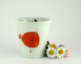 Hand painted China Coffee Cup with Red Bird,Ceramic Mug,Gobelet Porcelaine,Coffee Lovers