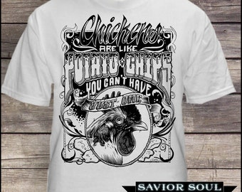 White chicken chip shirt sizes s-3xl