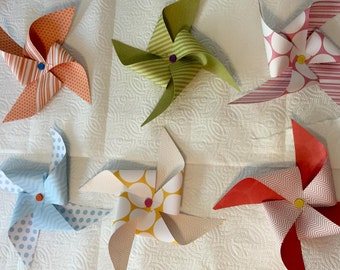 Large Paper Pinwheels Multi-colored 6 pack