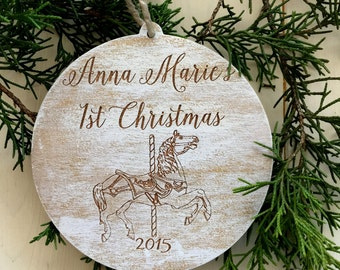 Christmas Ornament, First Christmas Ornament, Personalized Ornament, Tree Ornament, Carousel Horse Ornament