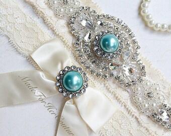 Light Blue Wedding Garter, light Blue Bridal Garter Set, Stretch Lace Garter, Crystal Pearl Garter, Vintage Garter, Wedding Garter Belt-