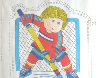 Vintage Cabbage Patch Kids Boy Hockey Player DIY Sewing Pillow // Cabbage Patch Patterns - 1 Panel