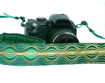 Camera Strap. DSLR Camera Strap. Gold and Green Camera Strap. Camera Accessories. Gift for Photographer.