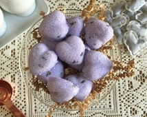 Lavender Heart Shaped Sugar Cubes. 2 Dozen. Perfect for Tea, Coffee, Champagne, Cocktail Beverages, Lemonade.