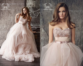 Wedding dress. Blush wedding dress. Blush bride dress. Pink wedding dress. Princess wedding dresses. Wedding gown. Bride dress.