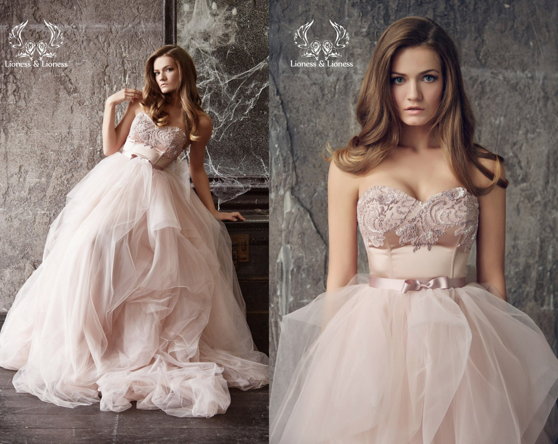 Wedding Dress. Blush Wedding Dress. Blush Bride Dress. Pink