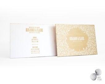Wooden laser engraved wedding invitation