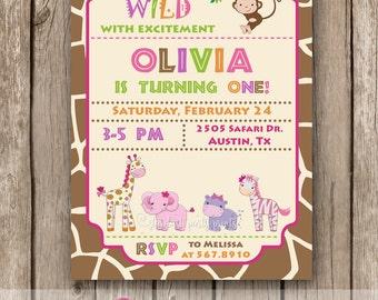 Safari Birthday Invitation, Safari Girl Birthday Invitation, Safari Invitation, Jungle Invitation