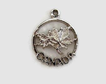 Canada Maple Leaf Souvenir Travel Sterling Silver Bracelet Charm