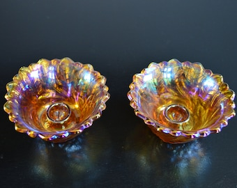 Vintage Indiana Imperial Amber iridescent carnival wildrose pattern candle stick holders