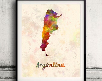 Argentina - Map in watercolor - Fine Art Print Glicee Poster Decor Home Gift Illustration Wall Art Countries Colorful - SKU 1721