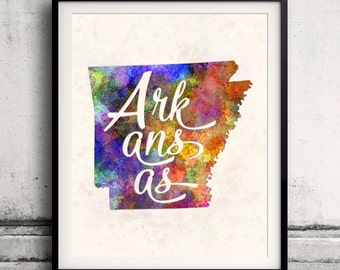 Arkansas - Map in watercolor - Fine Art Print Glicee Poster Decor Home Gift Illustration Wall Art USA Colorful - SKU 1780
