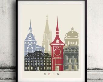 Bern skyline poster - Fine Art Print Landmarks skyline Poster Gift Illustration Artistic Colorful Landmarks - SKU 1841
