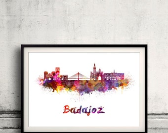Badajoz skyline in watercolor over white background with name of city - Poster Wall art Illustration Print - SKU 1870
