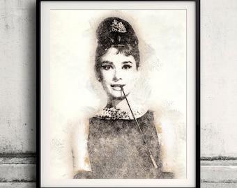 Audrey Hepburn portrait 01 in pen & watercolor - Fine Art Print Glicee Poster Gift Illustration Artist Poster - SKU 1941