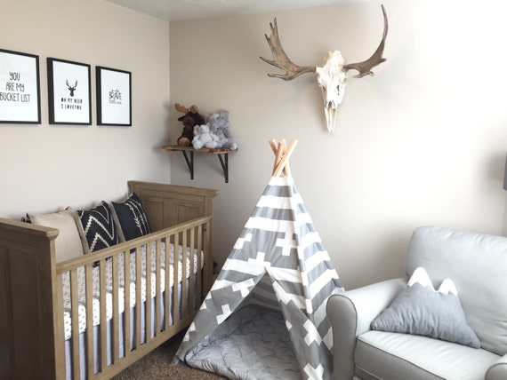 Gray and white play teepee