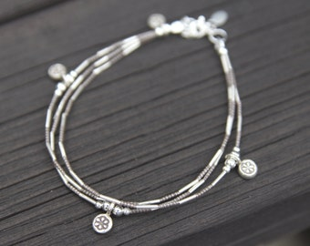 Delicate silver Bracelet ,Multistrand bracelet silver beaded,Feminie minimum jewelryt,For gift jewelry,Silver 3 charms Bracelet