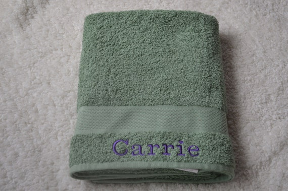 sage green personalized large bath towels by sewinspiredbygrace. Black Bedroom Furniture Sets. Home Design Ideas