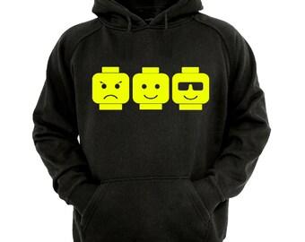 Building Heads Hoodie, boys/Girls Hoodie sizes 5-13 years,children's black hoodie