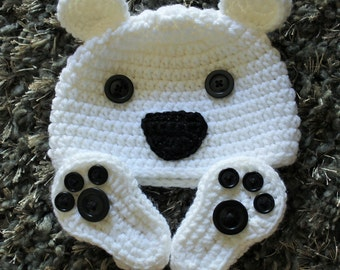 Polar Bear Hat and Bootie Set - Handmade to Order