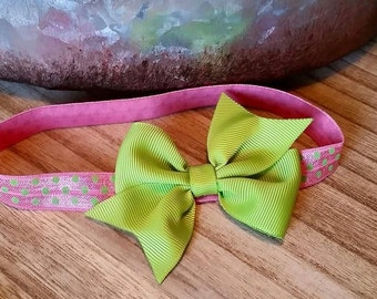 Pink with Lime Green Polka Dots FOE Infant Headband with Lime Green Bow
